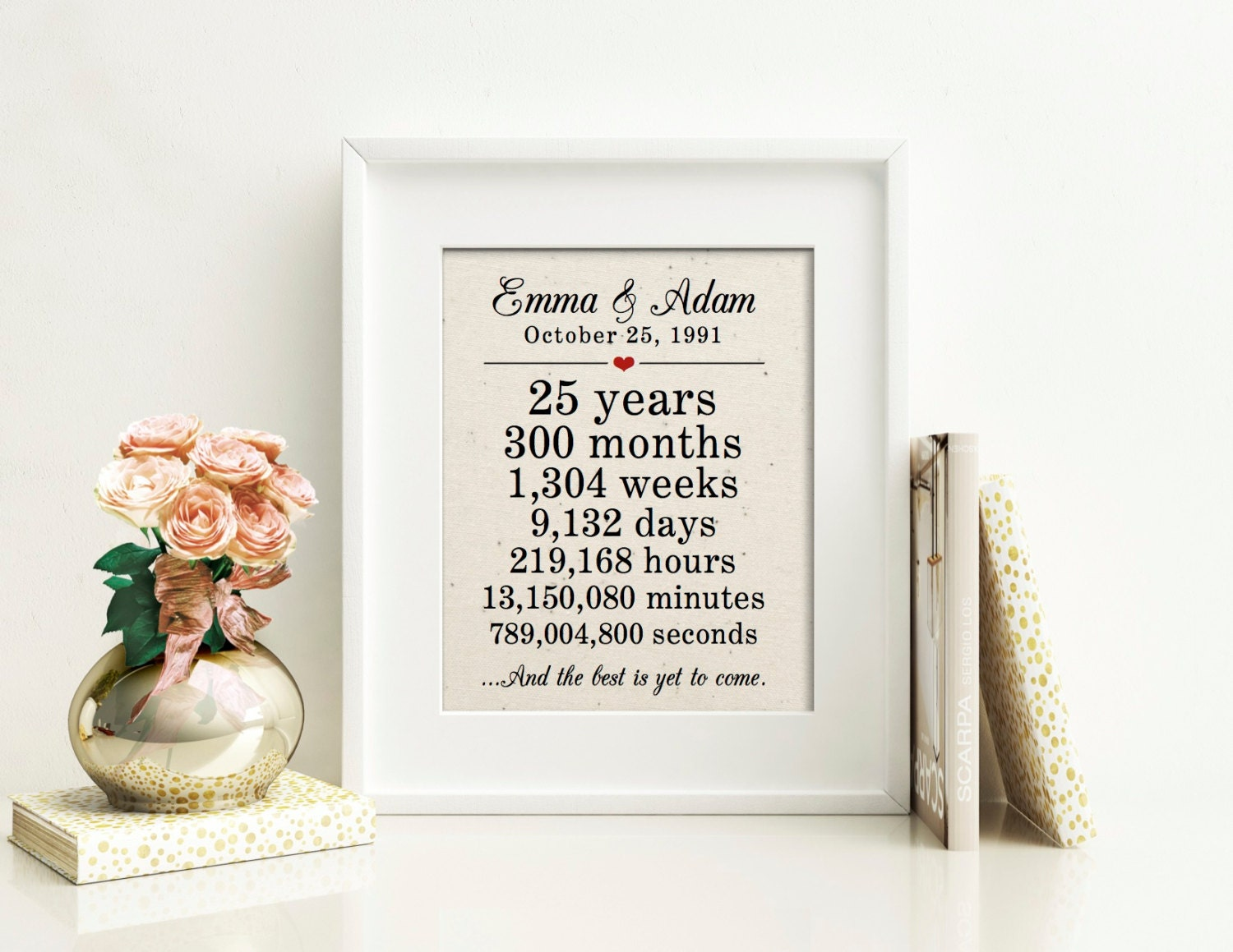 Gift For 25 Wedding Anniversary: 25th Anniversary Gift For Parents 25th Wedding Anniversary