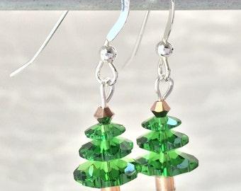 Christmas Earrings - Christmas Tree - Christmas Jewelry - Green Tree Earring - Holiday Jewelry - Christmas Gift - Teacher Gift -Secret Santa