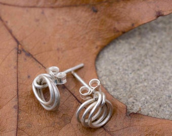 Small Silver Earrings, Silver Knot Earrings, Small Post Earrings, Small Silver Hoops, Silver Post Earrings
