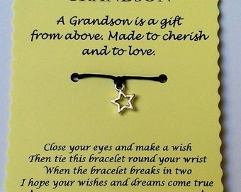 Grandson gift, Gransdon Wish Bracelet, Grandson Birthday gift, String Wish Bracelet, Cord Wish Bracelet, Keepsake, Grandson Birthday Card