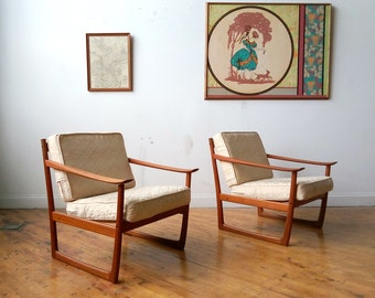 Vintage Pair of FD 130 Teak Lounge Chairs by Peter Hvidt for France and Son
