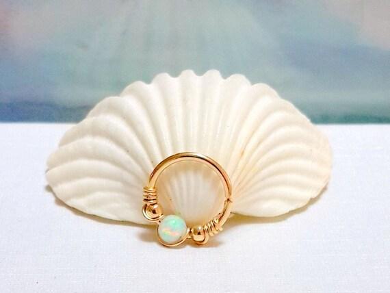 weisser opal septum ring opal nase piercing 16 22 gauge. Black Bedroom Furniture Sets. Home Design Ideas