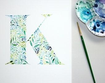 Monogram Print, Letter K Wall Art Print, Initial Watercolour Painting, Botanical Print, Nursery Decor, Personalised Artwork