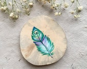 Green Feather with Crescent Moon painted on wood // Wood Wall Piece // Magnet // Twine Hanging