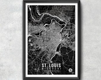St. Louis Map with Coordinates, St. Louis Map, Map Art, Map Print, St. Louis Print, St. Louis Art, St. Louis Gift,  St. Louis Decor, Art