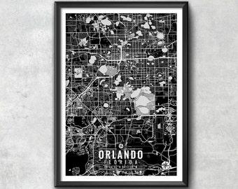 Orlando Florida Map with Coordinates, Orlando Wall Art, Orlando Map, Map Art, Map Print, Orlando Print, Orlando Art, Orlando Gift, Map