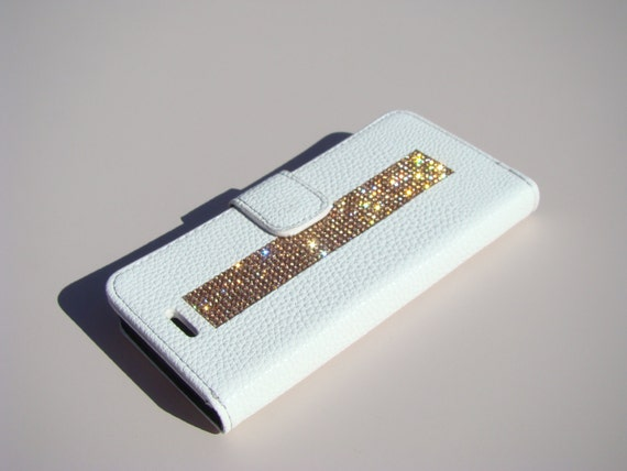 """iPhone 6 / 6s  4.7"""" Rose Gold Diamond Rhinestone Crystals White Wallet Case. Velvet/Silk Pouch bag Included, Genuine Rangsee Crystal Cases."""