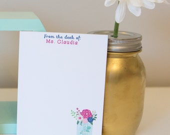 Mason Jar Notepad - personalized notepad - mason jar - custom notepad - flower