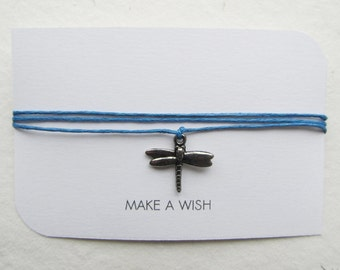 Wish bracelet, make a wish, friendship bracelet, dragonfly bracelet