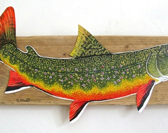 Colorful Brook Trout Acrylic Painting on Driftwood
