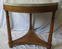 Round Neo Classical Side Table with Faux Marble Top