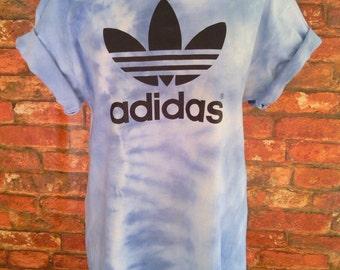 Unisex Authentic Adidas Originals Tie Dye Pastel Baby Blue Tie Dye T-shirt