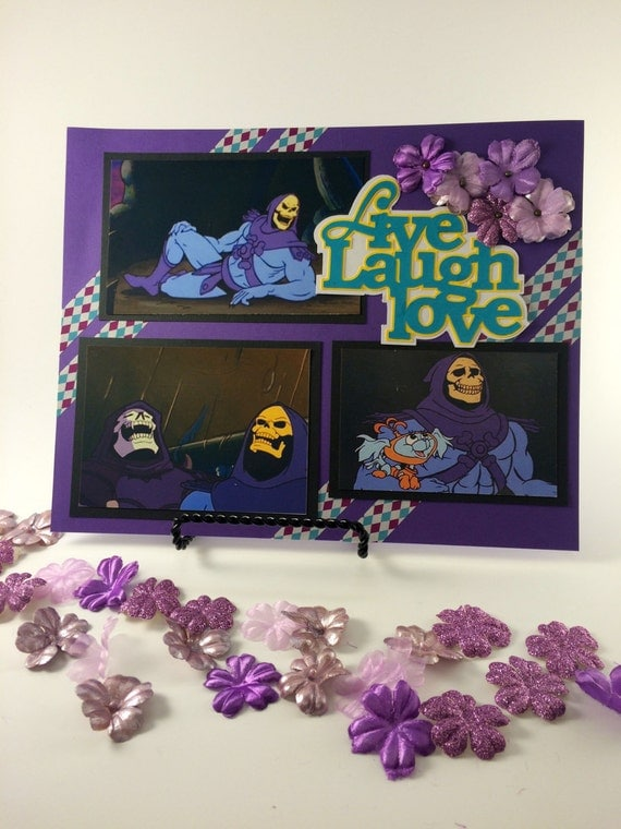 Skeletor - Live, Laugh, Love. Scrapbook papercut page with embellishments