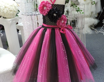 Fuchsia/Black Sequin  Corset Tutu Dress