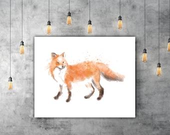 Woodland Watercolor Fox Print Download Art, Orange Fox Wall Art Design, Woodland Decor Wall, Animal Poster Art, Forest Animal Art