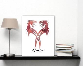 21st Birthday Print, Gift For Brother Art, Dragon Art, Printable Artwork, Zodiac Art, Dragon Decor, Zodiac Print, Gemini Constellation Print