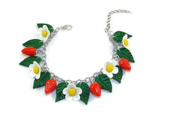 Bracelet strawberry, strawberry and leaves, spring flowers