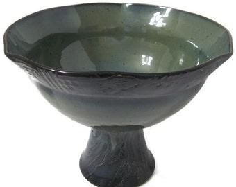 Unique Fruit Bowl, Decorative Bowl, Table Decor, Centerpiece Bowl, Green Fruit Bowl, Blue Fruit Bowl, Tall Bowl, Tall Fruit Bowl, Great Gift