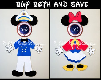 Captain Mickey and First Mate Minnie Mouse Magnets for Disney Cruise Door