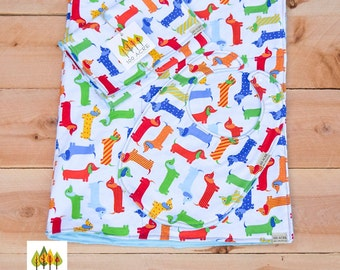 3pc cotton baby blanket set with bib and burp cloth. Dachshund/Wiener dog baby.  Dachshund blanket for baby with  blue minky dot.