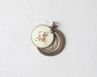 1930s Guilloche enamel slide medal in sterling silver religious  pendant