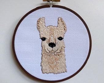 Hand Embroidered Llama Head - Natural Colors - Hoop Art