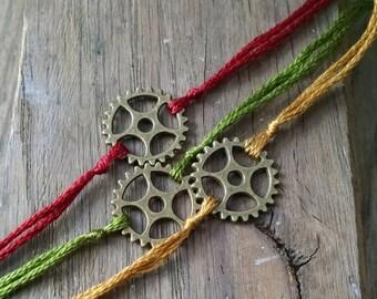 Bike Gear Wish Bracelet, Gear Charm Bracelet, Wish Charm, Bike, Bicycle Jewelry, Simple Bracelet, Sports, Athletic, Bracelet, Men, Women