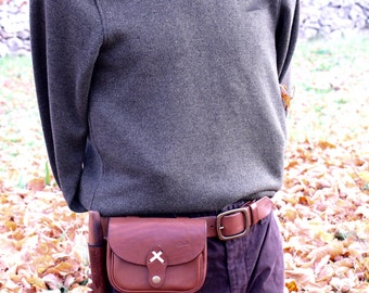 bushcraft leather pouch - Leather belt pouch