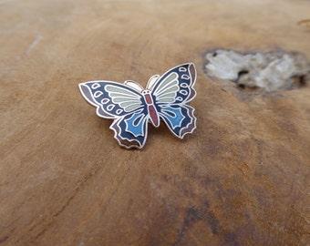Vintage Butterfly Pin - Enamel brooch - Tiny