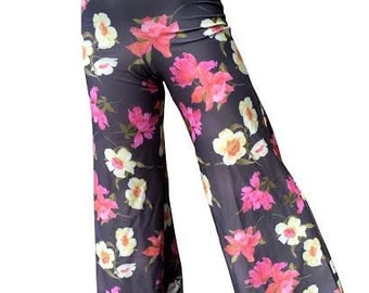 Floral Palazzo Pants, Joanna Trojer, 90's Fashion, Parrot Tulips, High Waist Pants Colorful Flowers Resort Boho Clothing