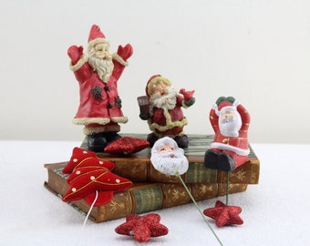 80s Christmas tree decoration Christmas decoration figures for hanging Vintage Seasonal Decoration Santa Claus