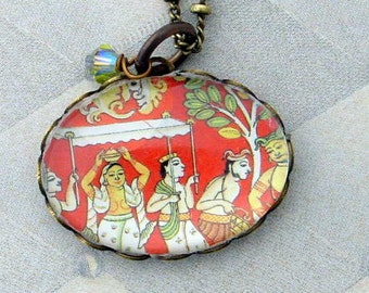 Vintage Postage Stamp Jewelry: Pasha Parade Pendant Necklace
