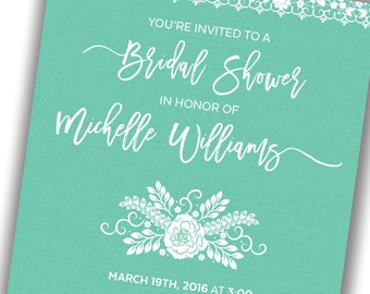 Wedding Shower Invitations, Simple, Lace, Flower, Wedding Shower Invite, Bridal Shower Invitations, Bridal Shower Invite