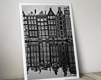Amsterdam Houses on Canal Black and White Photograph