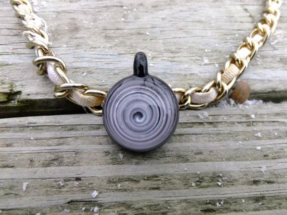 Minimalist Black & White Spiral Glass Necklace Heady Pendant Heady Glass Pendant Boro Pendant Hand Blown Glass Pendant glass bead