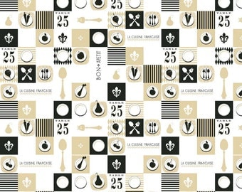 CLEARANCE: Ooh La La Black Plates by Where Women Cook for Riley Blake Designs