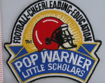 Pop Warner Little Scholars Sew On Patch, Vintage Patch, Embroidered Applique Patch, Vintage Sports Patch, Embroidered Patch