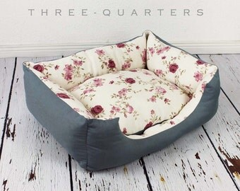Dog bed, shabby, vintage, roses, cat bed, soft, cozy, dogs, cats, nostalgic, white, old rose, pink, country style