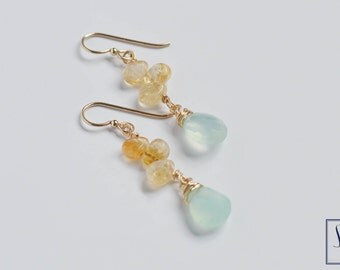 Aqua Chalcedony and Citrine Petal Drop Earrings, Gemstone Gold FIll Earrings by The Statement House