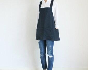 Linen Tool apron,Navy