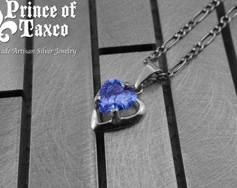 AU003_011 Taxco .925 gemstone Sterling silver pendant Purple AMETHYST, heart-shaped. 100% handmade.Free shipping.