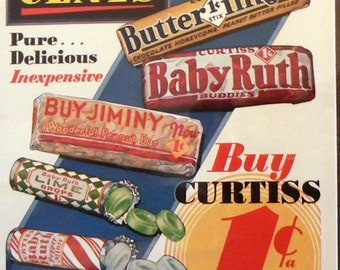 1933 Baby Ruth & Butterfinger Candy Ad Matted Vintage Print