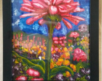 Orginal Acrylic Painting 'Zinnia in the Garden'