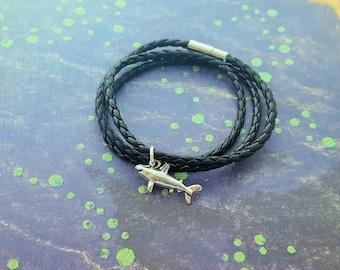 Shark Bracelet, Wrap Bracelet, Shark Gift, Faux Leather Bracelet, Mens Jewelry, Nautical Jewellery, Great White Shark, Ocean Jewelry, Gift