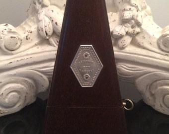 Antique Metronome Maelzel / Wood Case /Intact & Working / No Instructions - Slight Wood Split on Bottom Left