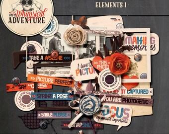 Digital scrapbooking, digital download, scrapbook elements, vintage ephemera, photography, camera, wordart