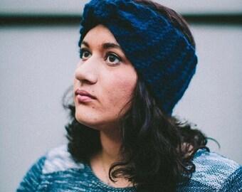 Navy Blue Ear Warmer Headband Knit