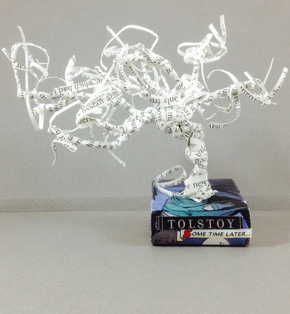 Book sculpture, Bonsai, tree sculpture, repurposed book, Tolstoy, book lover, desk garden, comic book, Black Panther