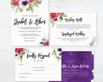 Printable Wedding Invitation Set, Watercolour DIY Printable Invitations - Vivid Blooms
