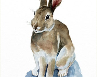 rabbit original watercolor painting rabbit bunny painting farm animal painting Easter bunny decor  24x32cm (9,4x12,6in)